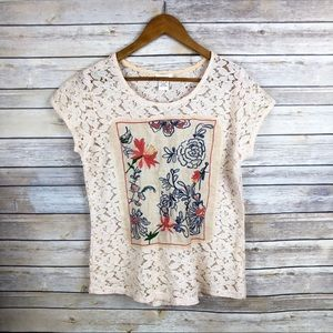 Sundance Ode to Vintage Lace Floral Detail Top M